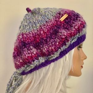 Hand Knits 2 Love Hat Slouch Beret Beanie Purple